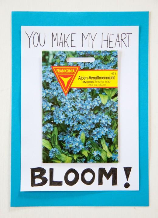 Muttertagsgeschenke basteln leicht gemacht. Für diese Muttertagskarte braucht ihr nur eine Tüte mit Blumensamen und ein bisschen Papier. Mehr Ideen auf https://www.meinesvenja.de/wp/2014/05/04/muttertagskarte-basteln/