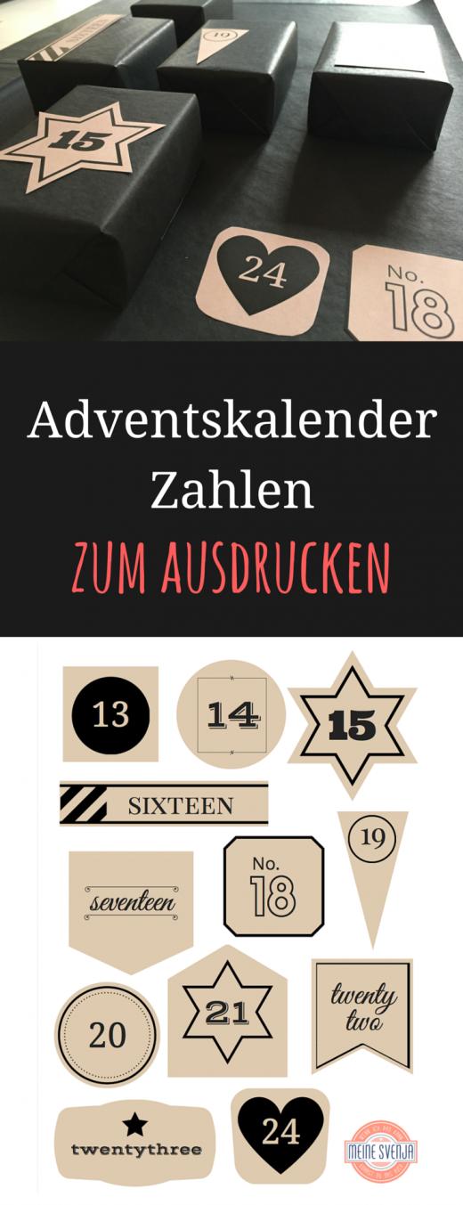 Adventskalender Zahlen zum Ausdrucken - Vorlagen umsonst für einen DIY Adventskalender