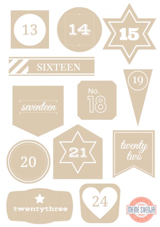 Adventskalender Zahlen zum Ausdrucken weiße Zahlen 13 bis 24 Handlettering in beigen Formen www.meinesvenja.de