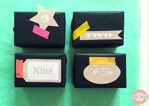 Adventskalender Zahlen zum Ausdrucken Schachteln schwarz Handlettering www.meinesvenja.de