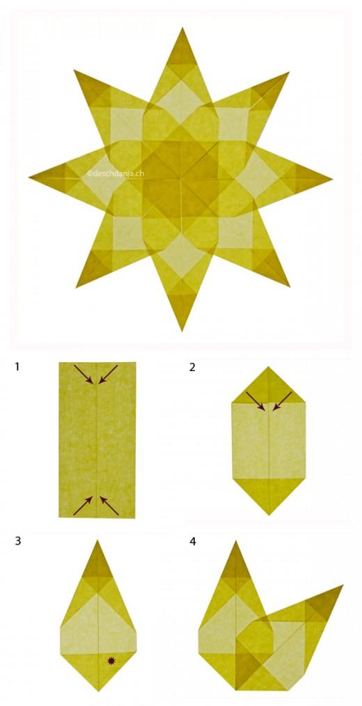 Sterne_falten-Anleitung_Weihnachtssterne-in-gelb