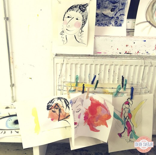 Basteln für Erwachsene Kinderkunsthaus München Blogger Event Bilder trocknen an der Heizung www.meinesvenja.de