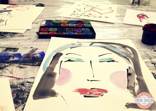 Basteln für Erwachsene Kinderkunsthaus München Blogger Event Selbstporträt mit Wasserfarben www.meinesvenja.de