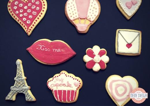 Plätzchen verzieren Mein Keksdesign München verschiedene Keksmotive Eifelturm Kussmund www.meinesvenja.de