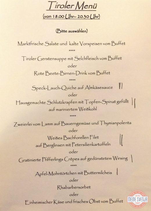 Speisekarte Tiroler Menü im Sonnwies Familienhotel Südtirol