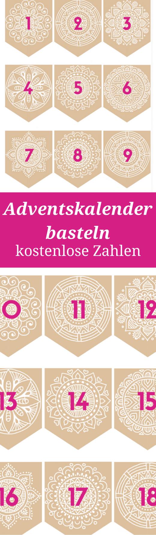 Adventskalender basteln - Zahlen zum Ausdrucken als kostenlose Vorlage. Außerdem Ideen für Adventskalenderinhalte ohne Konsum, aber mit leibevollen Unternehmungen und Erlebnissen.