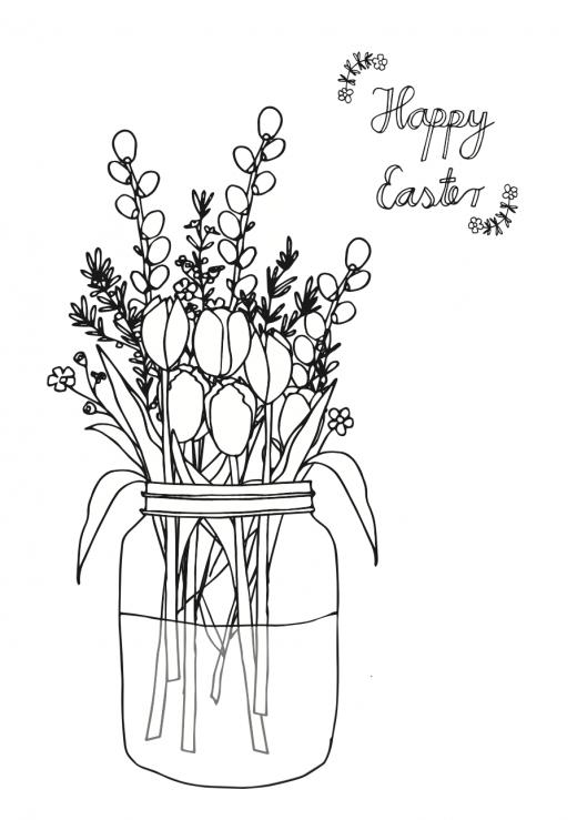 Ausmalbild Ostern Blumenstrauß