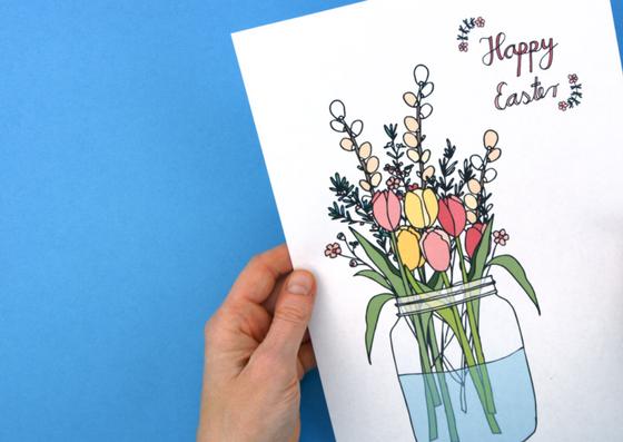 Osterkarten Basteln Mit Blumenmotiv Meine Svenja