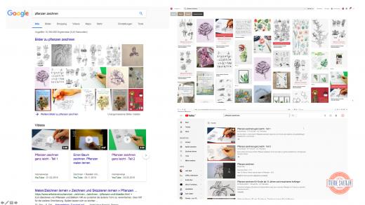 Google Seite 1 - Suchergebnisse bei Google, Pinterest und YouTube zu meinem Fokus Keyword