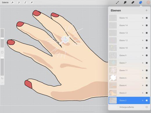 GIF erstellen - Anlegen des GIFS in verschiedenen Ebenen in Procreate