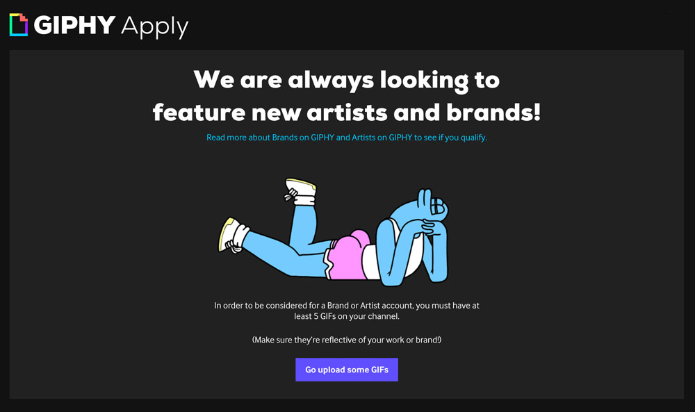 GIPHY brand channel beantragen